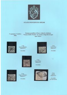 Historic States of Italy 1850/1868 - Small collection with 35 stamps and 7 letters mounted on sheets