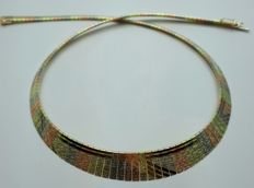 14 Ct Gold  Three Color Gold Cleopatra Necklace, Length 45 cm, Total 28.50g