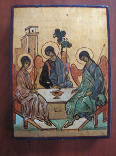 20th century ortodox russian icon of Holy Trinity hand painted