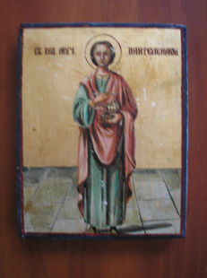 20th century ortodox russian icon of st. Panteleimon hand painted