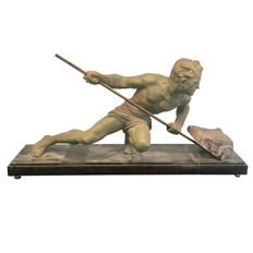 Youth with a marble block - Art Deco sculpture made of régule