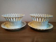 P.J.Boch Luxembourg - Two Creamware opened-up bowls with under-dishes