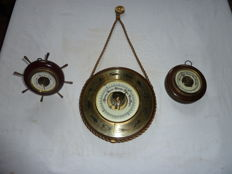 3 Vintage Oak Case Barometers