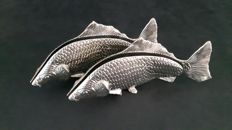 Two silver plated fish napkin holders