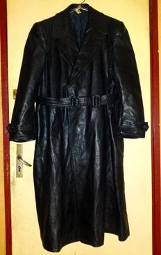 "Vintage 50's Heavy Leather Motorcycle Long Field Coat - ""NO RESERVE"""