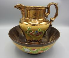 Antique gold stone pitcher and bowl
