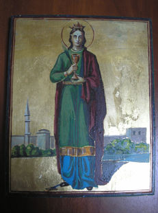 20th century ortodox russian icon of st. Varvara hand painted