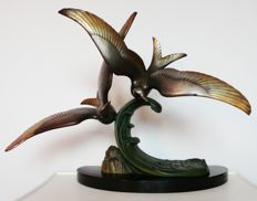Seagulls on wave - Art Deco patinated bronze sculpture