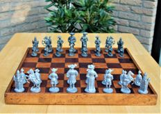 Special tin chess pieces and board
