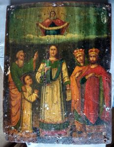 Russian icon (late 19th) - The Protection of Our Most Holy Lady