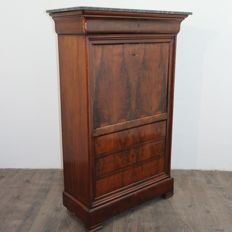 Secretaire entirely made of solid mahogany with the front veneered in mahogany feather and a marble top, French Louis Philippe style, ca. 1860