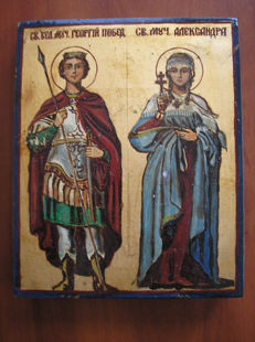 20th century ortodox russian icon of st. Georgij and Aleksandra hand painted