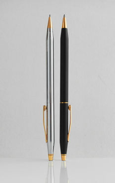 Cross Classic Century: duo-set: mechanical pencil high gloss chrome with gold-plated accents and ballpoint lava black with gold-plated accents, high-tech styled, elegant design (C012)