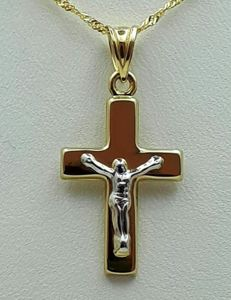14 Ct Yellow & White Gold Chain and Crucifix, chain 45cm, Cross 3x1.5cm, Total weight :2.01g