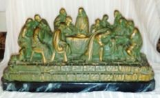 Last Supper of Christ with his disciples - polychromed stucco - year 1940