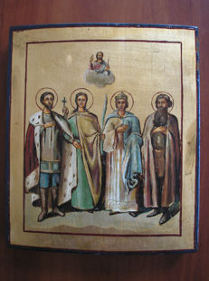 20th century ortodox russian icon of Four Saints hand painted