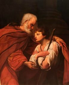 Anonymous (First 19th Century)  Ancien sheltering his granddaughter.