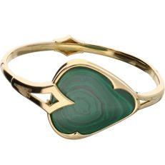 18 kt - Yellow gold slave bracelet of 4 mm wide, set with a malachite - Diameter: 6.2 cm