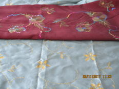 Two pieces of fabric of tafta silk stitched with gold thread and multicoloured sequins.