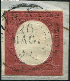 Sardinia 1854 - 40 cent. brick red - Sass. No.  9
