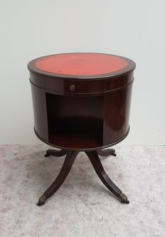 A mahogany drum-book carousel with leather sheet, England, 20th century