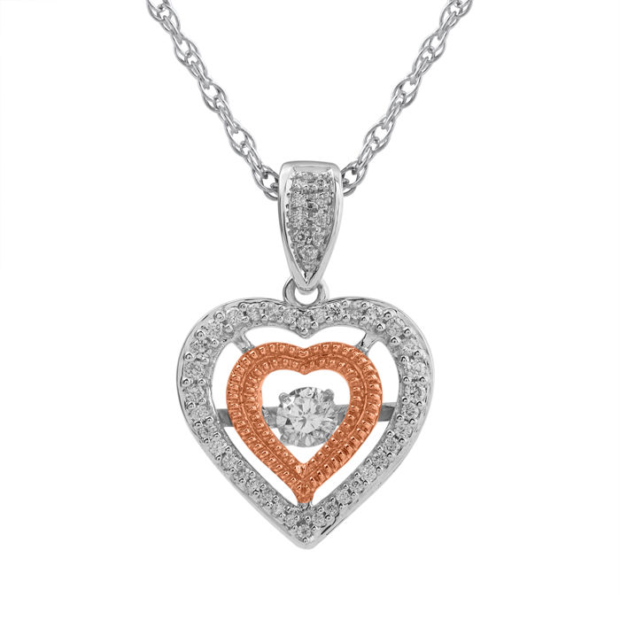 18Kt. pink and white gold diamond heart pendant and chain; 18 inch long chain