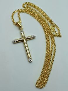 14 Ct Yellow & White  Gold Chain & Cross, Chain 45cm, Cross 4x2 cm, Total Weight:2.45g
