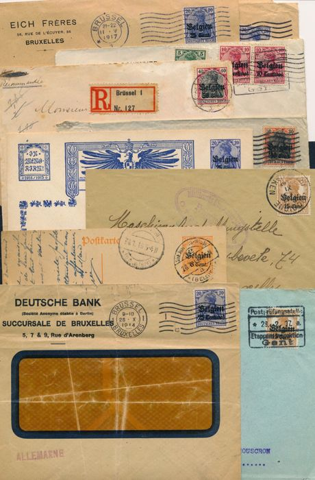 German Occupation in Belgium - 1918-1920 - batch of 60 letters and cards with rare censorships and destinations