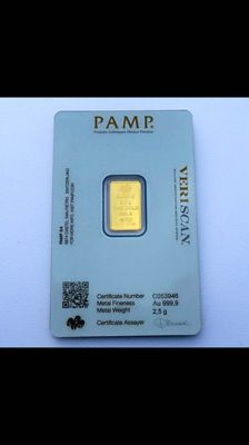 Switzerland - Pamp Suisse - 2.5 grams 999 gold / gold bars - in blister packaging - with certificate and serial number