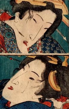 Two original shunga woodblock-printed sheets by Keisai Eisen (1790–1848) - Close-up Portraits of two Excited Beauties - Japan - ca. 1839