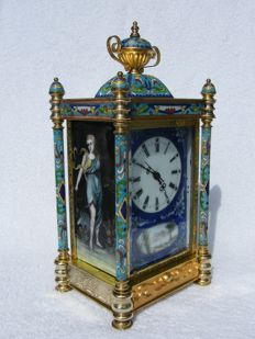 Cloisonné table clock - 2nd half 20th century