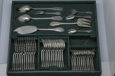Complet silverware set from silversmith RAVINET DENFERT, 12 pieces, silver plated metal - 124 pieces!