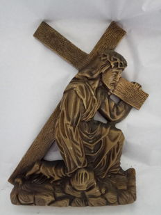 Christ with the Cross, Calvary, bronze