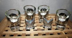 Moet & Chandon, set of 4 candle holders and 2 menu holders by the famous house of champagne