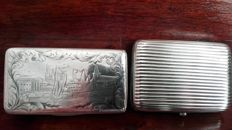 2x silver cigarette case from 19th century, Russia