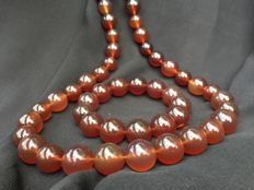 100% untreated Amber set: very long graduated necklace & bracelet, 170 grams total weight