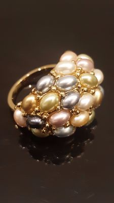 Kenneth Jay Lane - 22kt Gold Plated Faux Pearl Ring