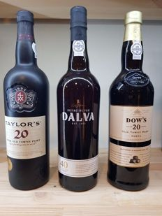 Aged Tawny Port: Dow's 20 years & Taylor's 20 years & Dalva 40 years - 3 bottles