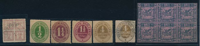 Bergedorf, Mecklenburg Schwerin and Schleswig Holstein - 1850-1860 batch of 12 stamps including Bergedorf no. 4 in block of six