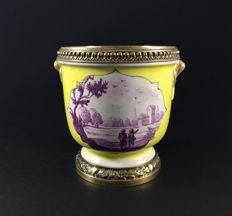Risler & Carré Paris - Beautiful vase in porcelain and massif Vermeil silver, France, 19th century