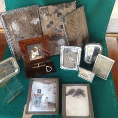 Lot of eleven silver plated frames, metal, bakelite, two Italian 800 silver frames