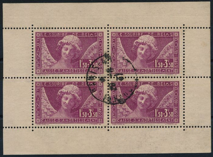 "France 1930 - ""Smile of Reims"" in a sheetlet of 4 pieces - Yvert 256"