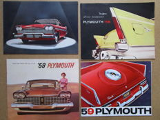 PLYMOUTH - Lot of 4 original brochures for Belvedere, Savoy, Plaza, Suburban Station wagons of 1956, 1958 and 1959