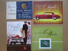 CHRYSLER Lot de 4 brochures originales pour Windsor, New Yorker, Royal, Newport, Sedan, Saratoga de 1950 et 1952