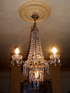 Empire balloon chandelier with crystal pendants