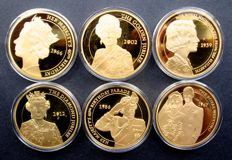 United Kingdom - Medals (Big size) 'The Queens Diamond Jubilee Elizabeth 1952-2012' - gold plated bronze