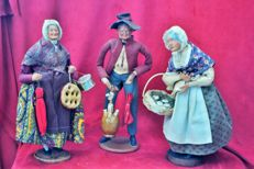Collection of 3 old Christmas crib figurines from Provence signed Simone Jouglas, made in France