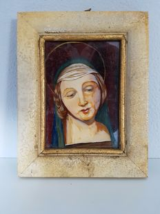 Mary, painting on glass