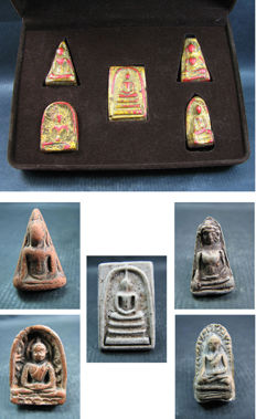 A collection of 10 Buddha amulets being 2 BenjaPakee amulet sets - Thailand - circa 1950's - 1960's