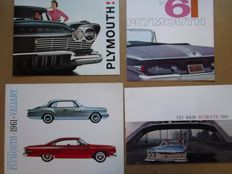 PLYMOUTH - Lot of 4 original brochures for Belvedere, Savoy, Plaza, Suburban, Fury from 1957 to 1961